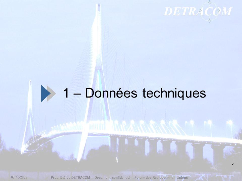 DETRACOM Propriété de DETRACOM – Document confidentiel – Forum des Radiocommunications 1 – Données techniques 2 07/10/2009