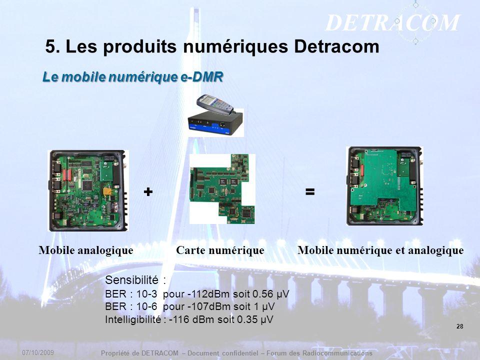 DETRACOM Propriété de DETRACOM – Document confidentiel – Forum des Radiocommunications 28 5. Les produits numériques Detracom Le mobile numérique e-DM