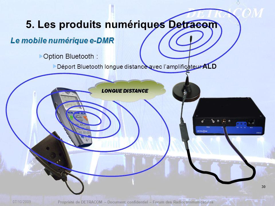 DETRACOM Propriété de DETRACOM – Document confidentiel – Forum des Radiocommunications 30 5. Les produits numériques Detracom Le mobile numérique e-DM