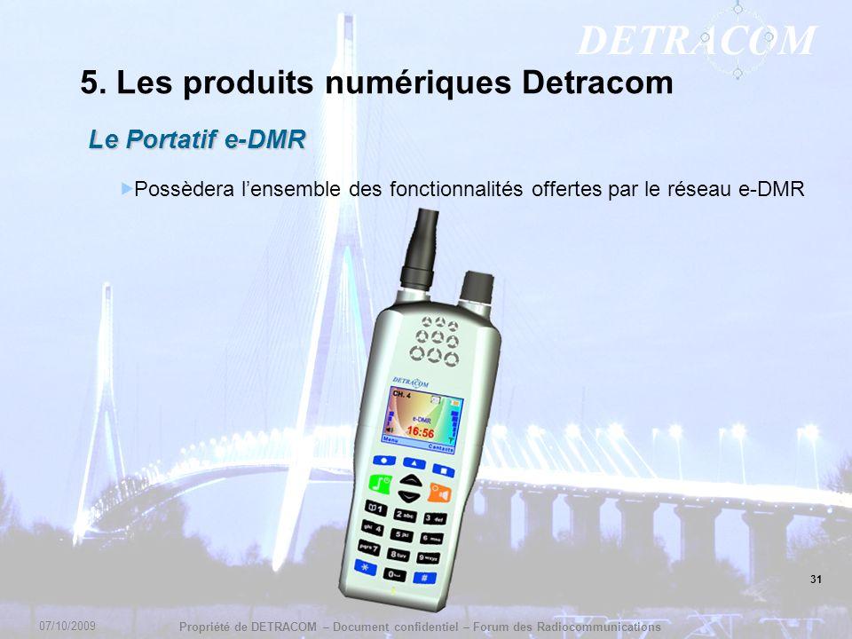 DETRACOM Propriété de DETRACOM – Document confidentiel – Forum des Radiocommunications 5. Les produits numériques Detracom Le Portatif e-DMR Possèdera