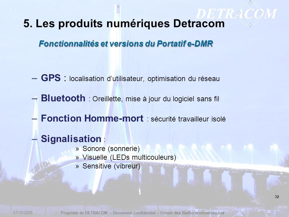 DETRACOM Propriété de DETRACOM – Document confidentiel – Forum des Radiocommunications Fonctionnalités et versions du Portatif e-DMR –GPS : localisati