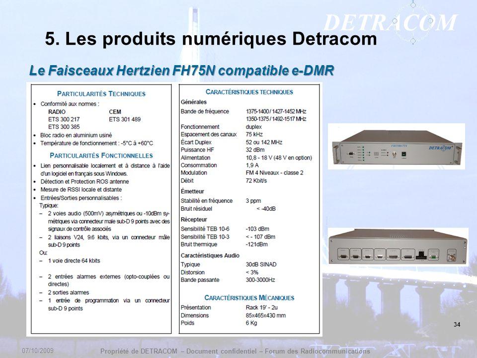 DETRACOM Propriété de DETRACOM – Document confidentiel – Forum des Radiocommunications 34 5. Les produits numériques Detracom Le Faisceaux Hertzien FH