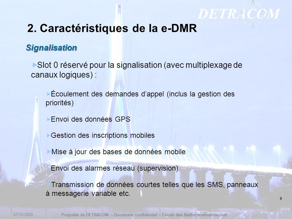 DETRACOM Propriété de DETRACOM – Document confidentiel – Forum des Radiocommunications 9 2. Caractéristiques de la e-DMR Signalisation Slot 0 réservé