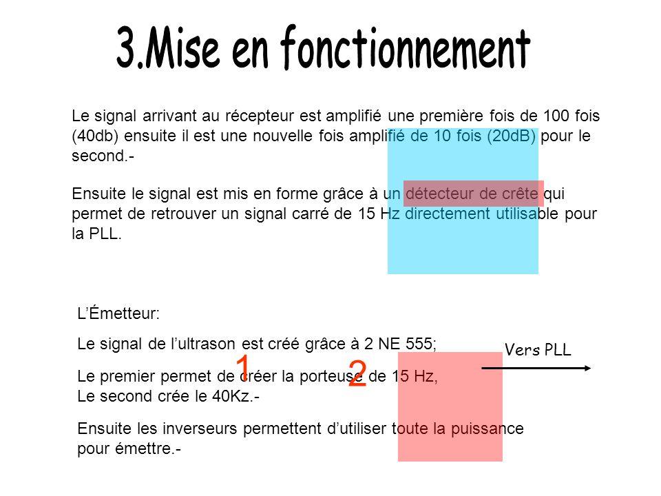 5V LÉmetteur: Le signal de lultrason est créé grâce à 2 NE 555; Le premier permet de créer la porteuse de 15 Hz, Le second crée le 40Kz.- Ensuite les