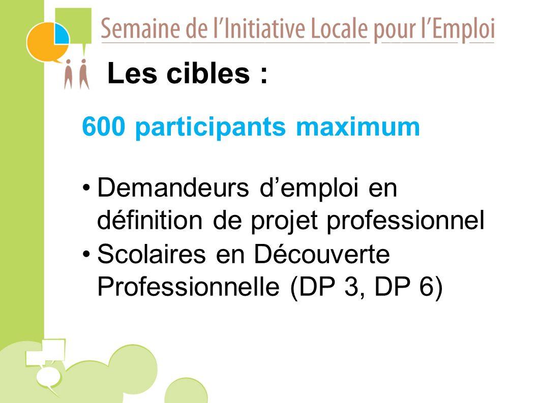 Les cibles : 600 participants maximum Demandeurs demploi en définition de projet professionnel Scolaires en Découverte Professionnelle (DP 3, DP 6)