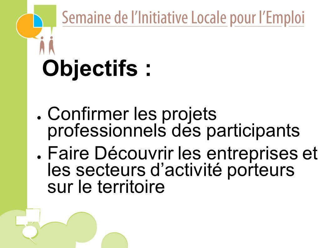 Objectifs : Confirmer les projets professionnels des participants Faire Découvrir les entreprises et les secteurs dactivité porteurs sur le territoire