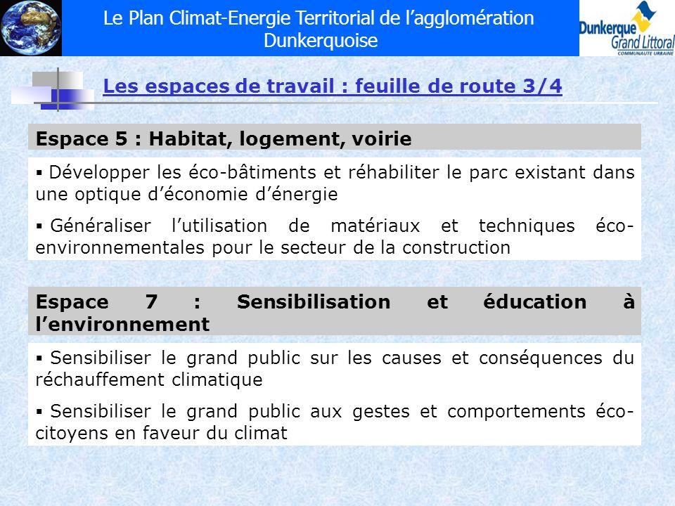 Le Plan Climat-Energie Territorial de lagglomération Dunkerquoise Les espaces de travail : feuille de route 3/4 Espace 7 : Sensibilisation et éducatio