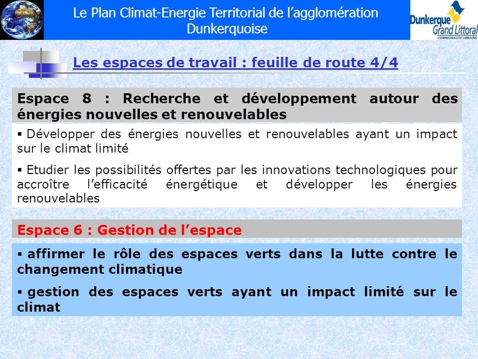 Le Plan Climat-Energie Territorial de lagglomération Dunkerquoise Les espaces de travail : feuille de route 4/4 Espace 8 : Recherche et développement