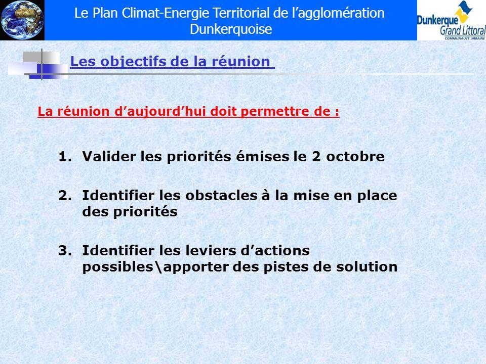 Le Plan Climat-Energie Territorial de lagglomération Dunkerquoise Les objectifs de la réunion La réunion daujourdhui doit permettre de : 1.Valider les