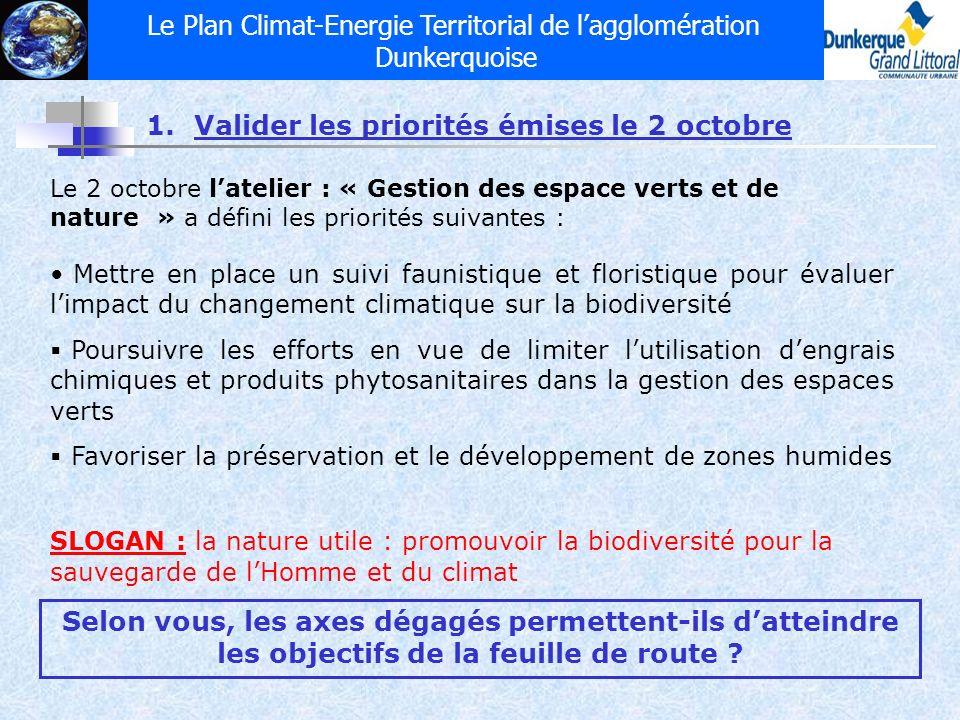Le Plan Climat-Energie Territorial de lagglomération Dunkerquoise 1.Valider les priorités émises le 2 octobre Le 2 octobre latelier : « Gestion des es