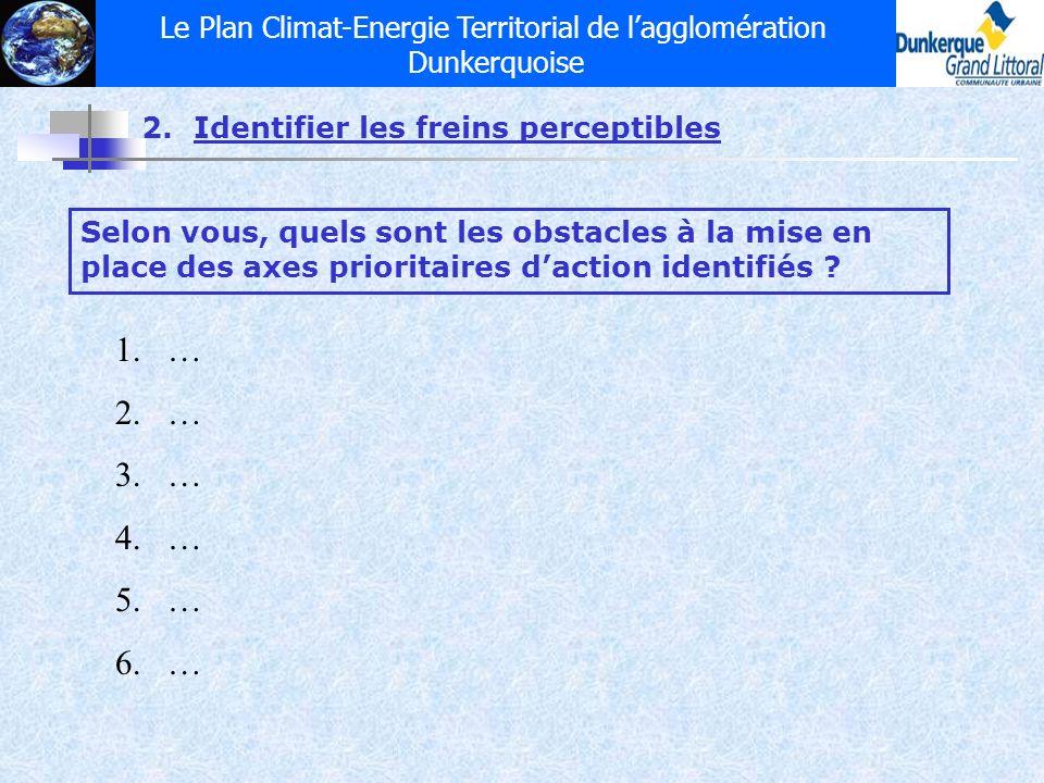 Le Plan Climat-Energie Territorial de lagglomération Dunkerquoise 2.Identifier les freins perceptibles Selon vous, quels sont les obstacles à la mise