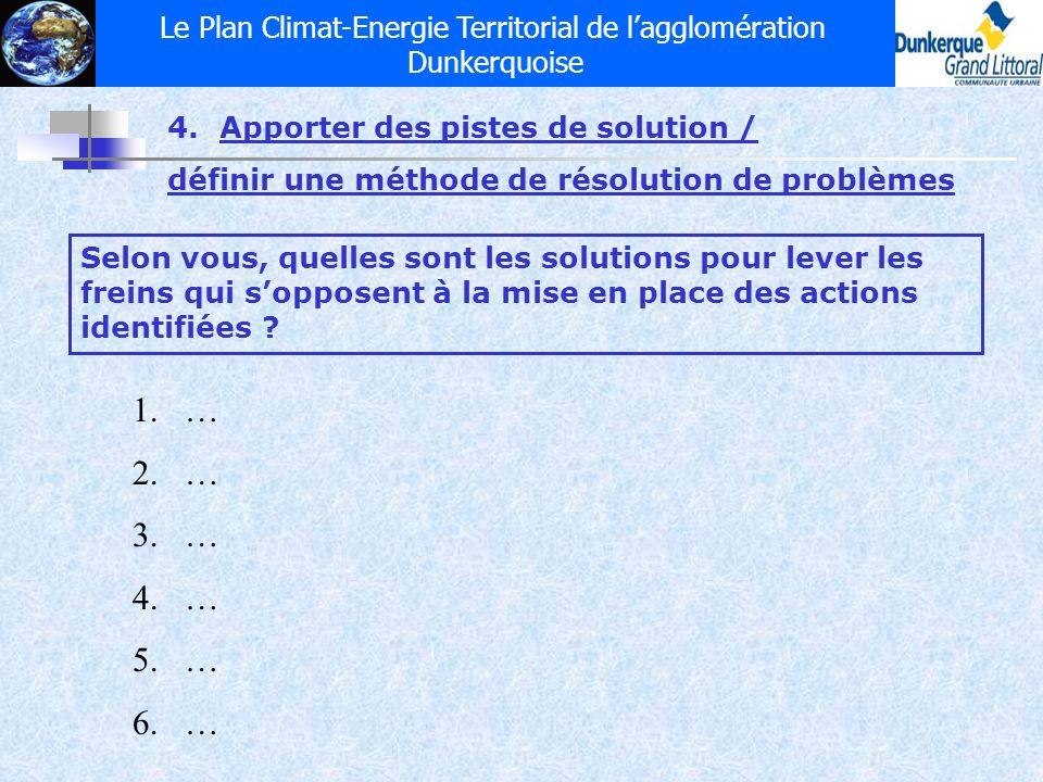 Le Plan Climat-Energie Territorial de lagglomération Dunkerquoise 4.Apporter des pistes de solution / définir une méthode de résolution de problèmes S