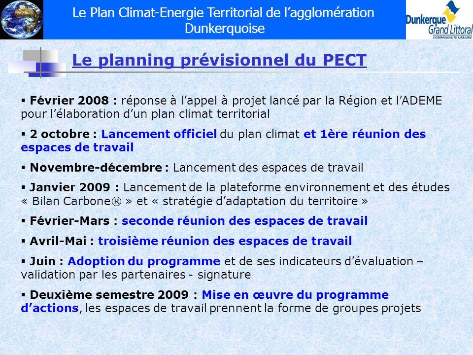 Le Plan Climat-Energie Territorial de lagglomération Dunkerquoise Février 2008 : réponse à lappel à projet lancé par la Région et lADEME pour lélabora