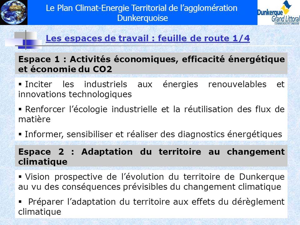 Le Plan Climat-Energie Territorial de lagglomération Dunkerquoise Les espaces de travail : feuille de route 1/4 Espace 1 : Activités économiques, effi