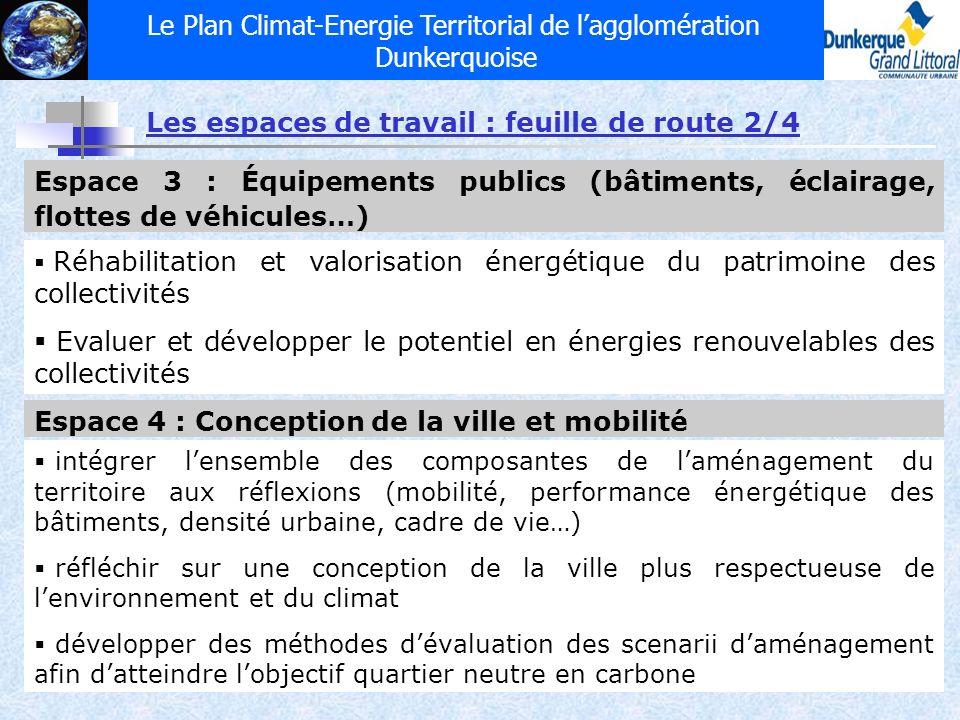 Le Plan Climat-Energie Territorial de lagglomération Dunkerquoise Espace 3 : Équipements publics (bâtiments, éclairage, flottes de véhicules…) Réhabil
