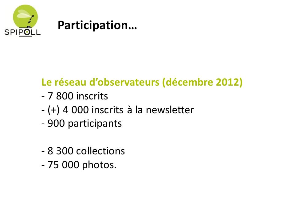 Le réseau dobservateurs (décembre 2012) - 7 800 inscrits - (+) 4 000 inscrits à la newsletter - 900 participants - 8 300 collections - 75 000 photos.