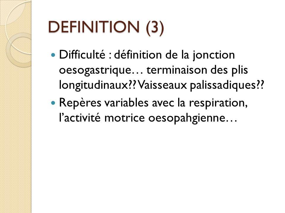 DEFINITION (3) Difficulté : définition de la jonction oesogastrique… terminaison des plis longitudinaux?? Vaisseaux palissadiques?? Repères variables