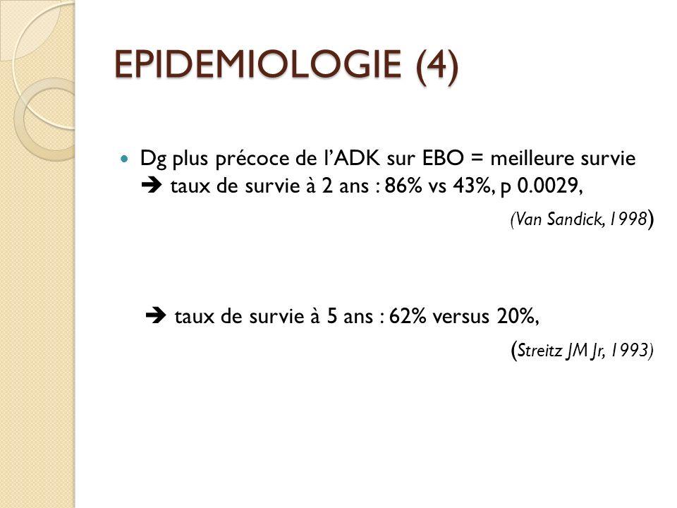EPIDEMIOLOGIE (4) Dg plus précoce de lADK sur EBO = meilleure survie taux de survie à 2 ans : 86% vs 43%, p 0.0029, (Van Sandick, 1998 ) taux de survi