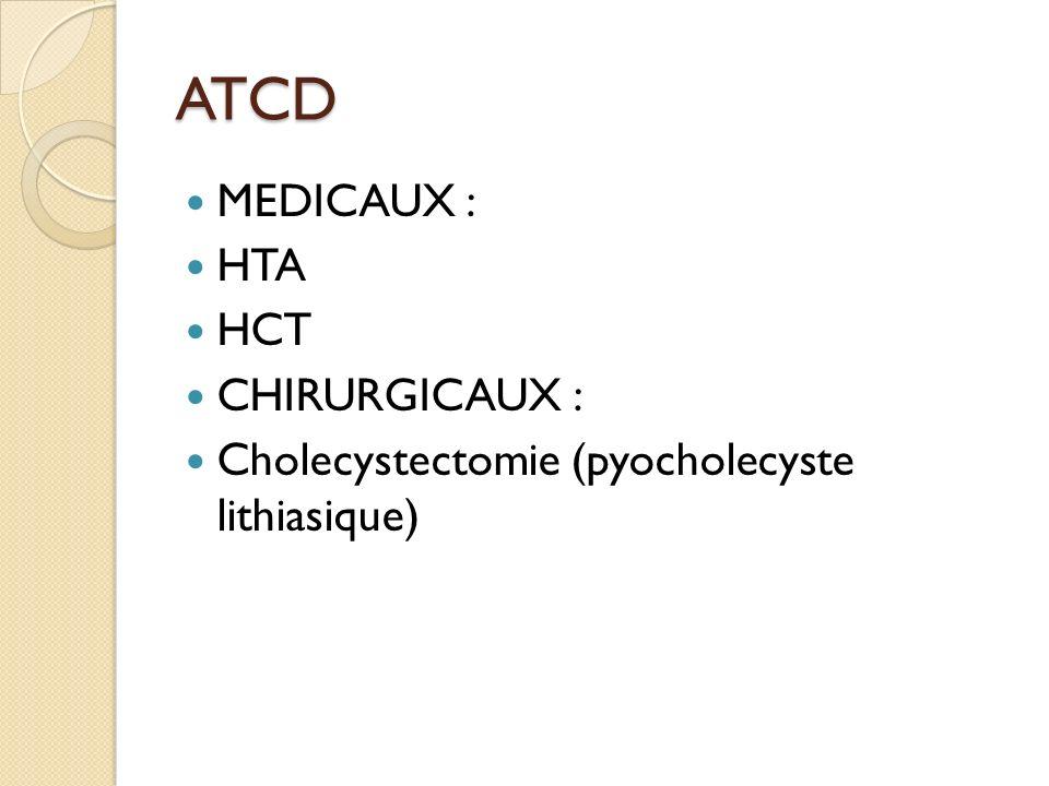 ATCD MEDICAUX : HTA HCT CHIRURGICAUX : Cholecystectomie (pyocholecyste lithiasique)