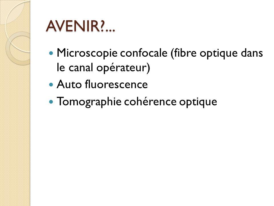 AVENIR?... Microscopie confocale (fibre optique dans le canal opérateur) Auto fluorescence Tomographie cohérence optique