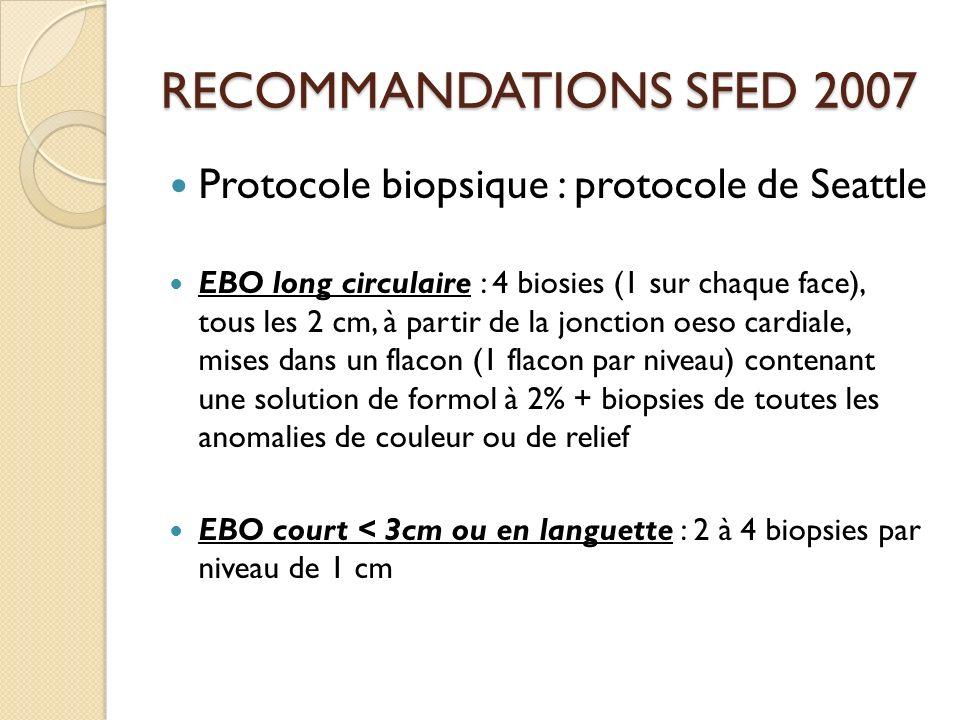 RECOMMANDATIONS SFED 2007 Protocole biopsique : protocole de Seattle EBO long circulaire : 4 biosies (1 sur chaque face), tous les 2 cm, à partir de l