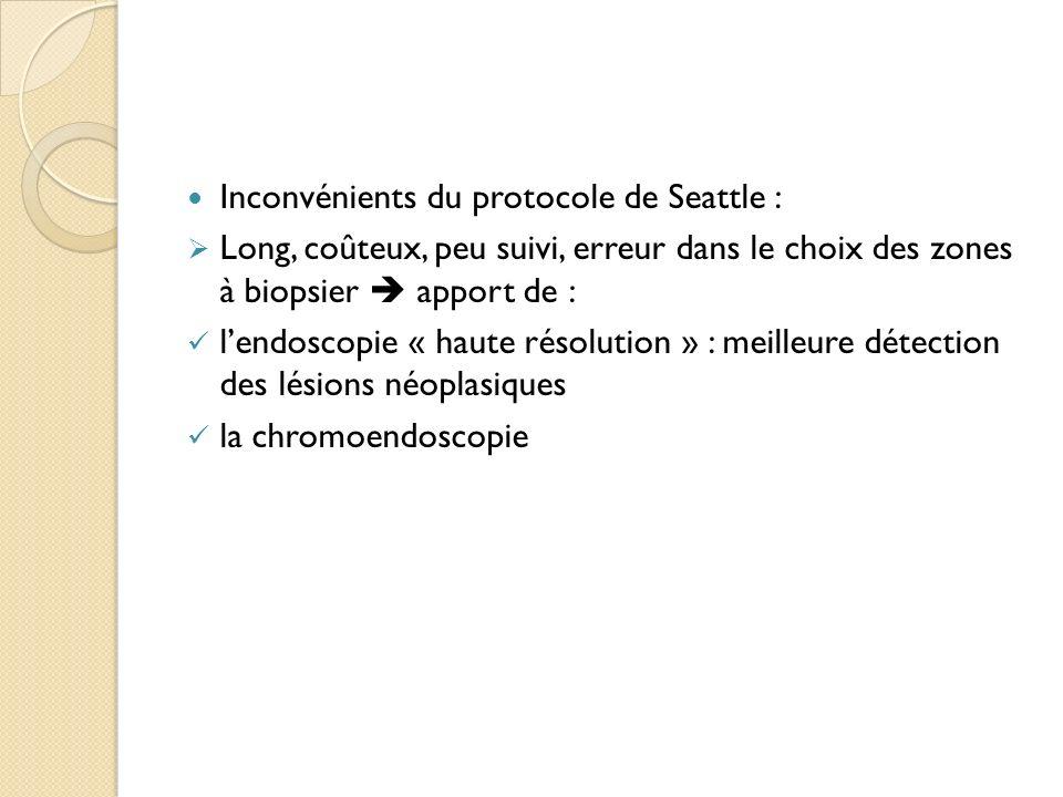 Inconvénients du protocole de Seattle : Long, coûteux, peu suivi, erreur dans le choix des zones à biopsier apport de : lendoscopie « haute résolution