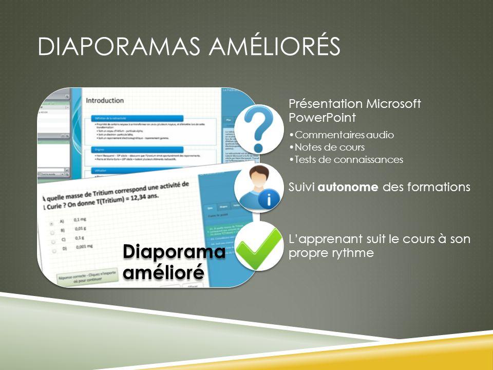 DIAPORAMAS AMÉLIORÉS Diaporama amélioré Présentation Microsoft PowerPoint Commentaires audio Notes de cours Tests de connaissances Suivi autonome des