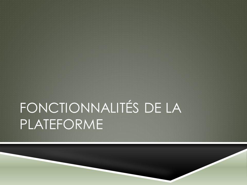 FONCTIONNALITÉS DE LA PLATEFORME