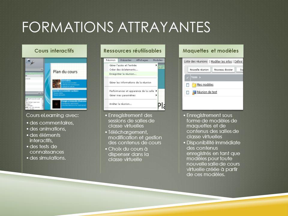FORMATIONS ATTRAYANTES Cours eLearning avec: des commentaires, des animations, des éléments interactifs, des tests de connaissances des simulations. C