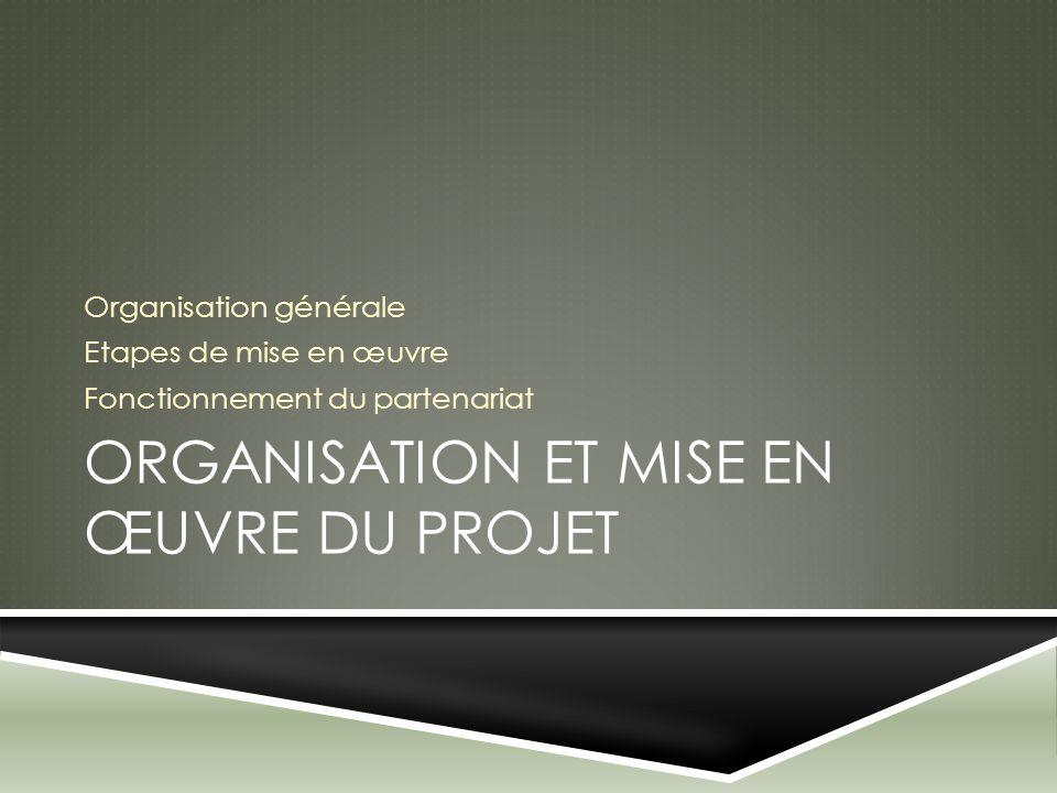 ORGANISATION ET MISE EN ŒUVRE DU PROJET Organisation générale Etapes de mise en œuvre Fonctionnement du partenariat