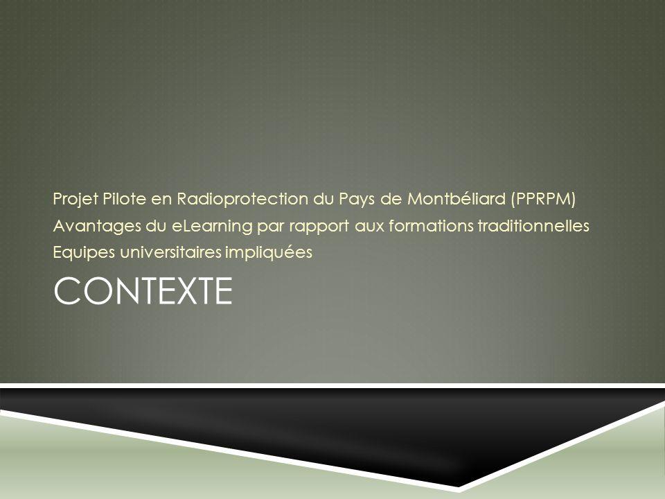 CONTEXTE Projet Pilote en Radioprotection du Pays de Montbéliard (PPRPM) Avantages du eLearning par rapport aux formations traditionnelles Equipes uni