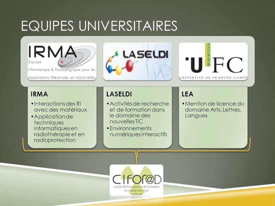 EQUIPES UNIVERSITAIRES IRMA Interactions des RI avec des matériaux Application de techniques informatiques en radiothérapie et en radioprotection LASE