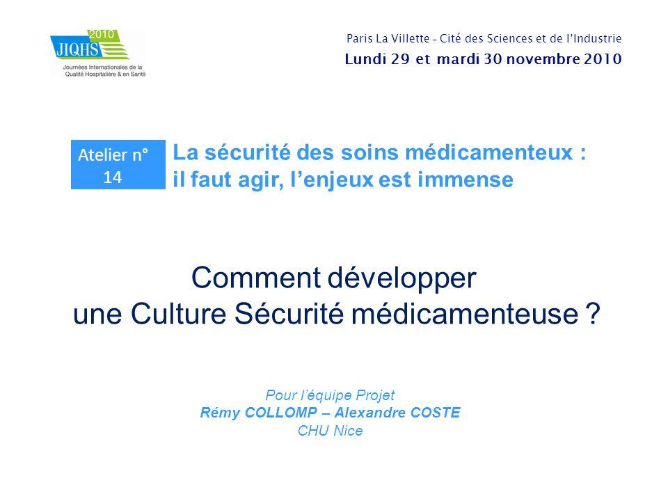 Comment développer une Culture Sécurité médicamenteuse ? Pour léquipe Projet Rémy COLLOMP – Alexandre COSTE CHU Nice Paris La Villette - Cité des Scie