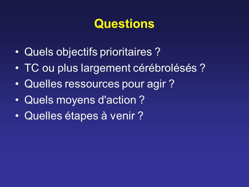 Questions Quels objectifs prioritaires . TC ou plus largement cérébrolésés .
