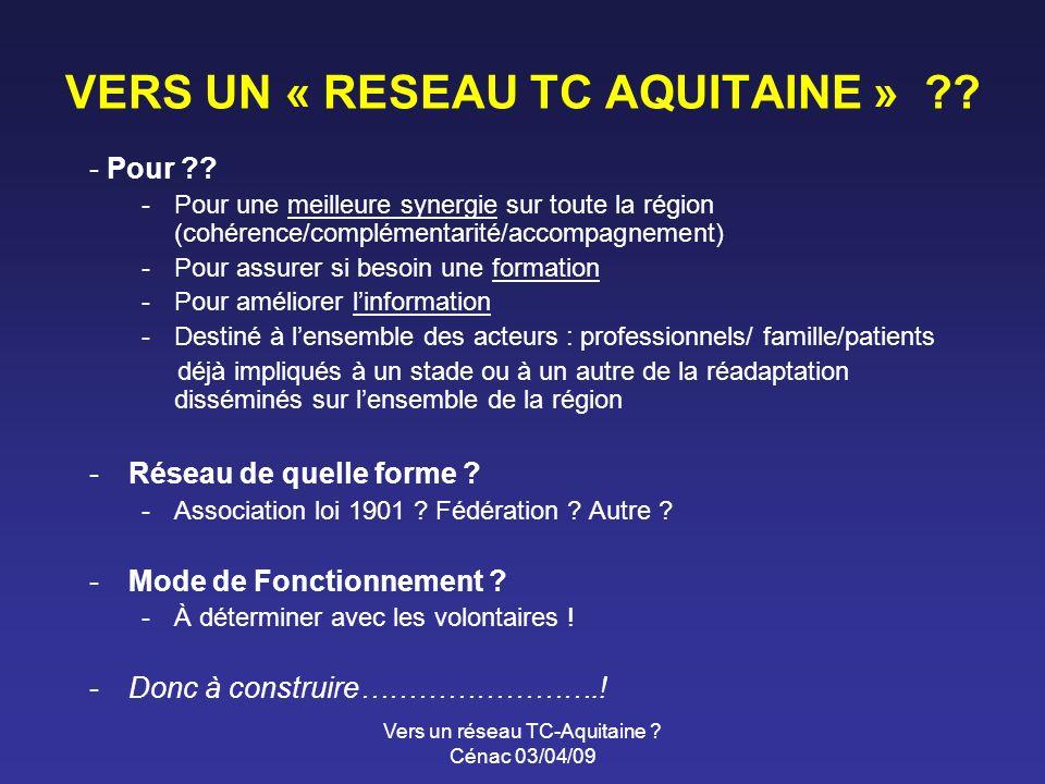 Vers un réseau TC-Aquitaine . Cénac 03/04/09 VERS UN « RESEAU TC AQUITAINE » .