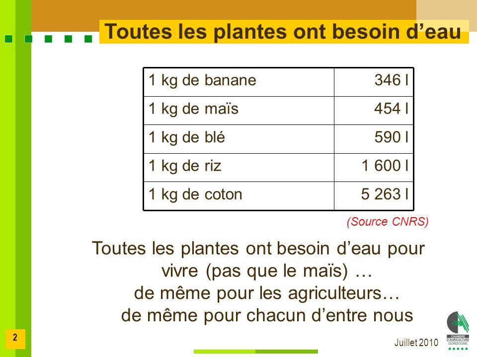 Juillet 2010 2 Toutes les plantes ont besoin deau 1 600 l1 kg de riz 5 263 l1 kg de coton 590 l1 kg de blé 454 l1 kg de maïs 346 l1 kg de banane (Source CNRS) Toutes les plantes ont besoin deau pour vivre (pas que le maïs) … de même pour les agriculteurs… de même pour chacun dentre nous