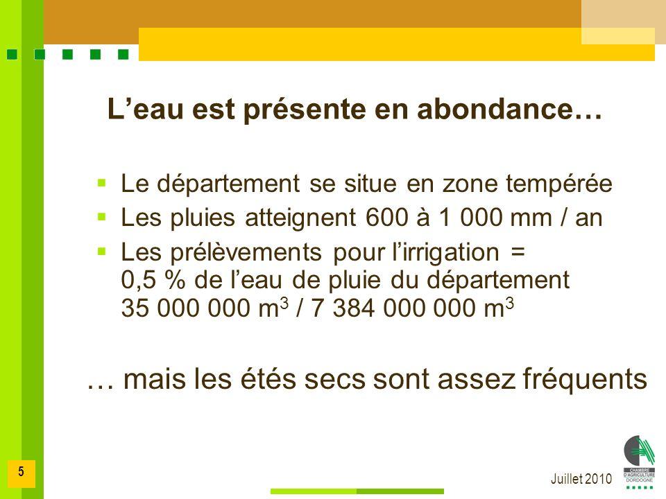 Juillet 2010 5 Le département se situe en zone tempérée Les pluies atteignent 600 à 1 000 mm / an Les prélèvements pour lirrigation = 0,5 % de leau de