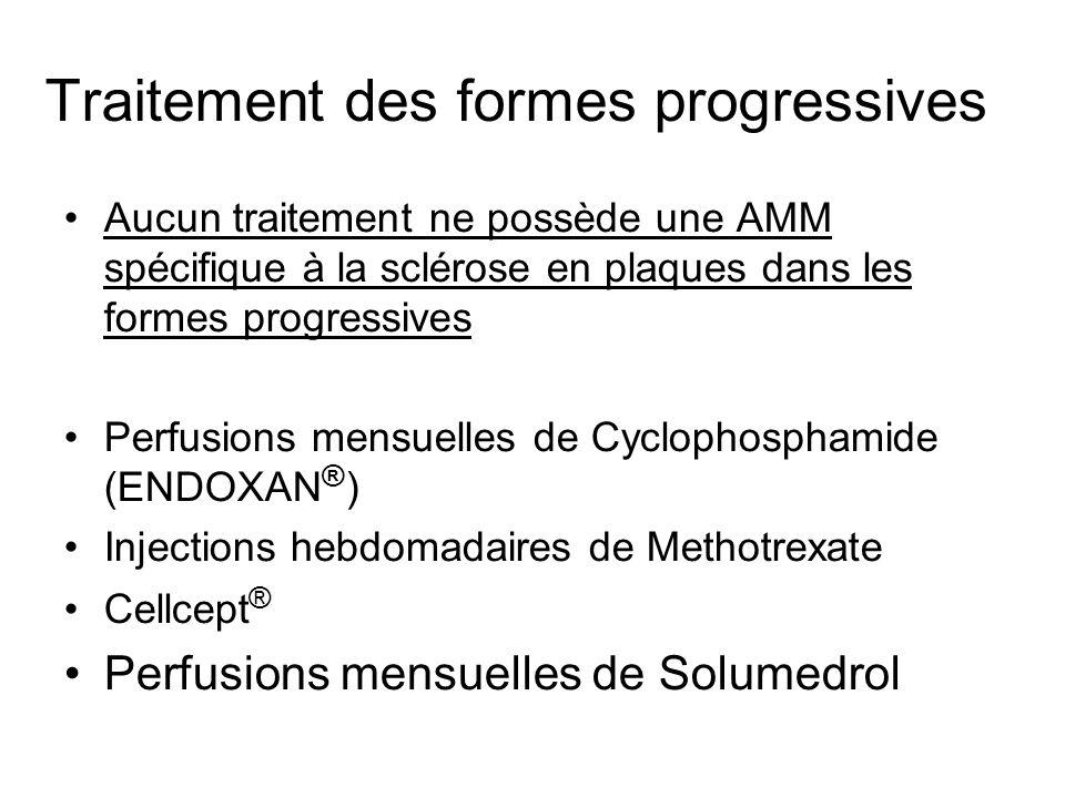 Traitement des formes progressives Aucun traitement ne possède une AMM spécifique à la sclérose en plaques dans les formes progressives Perfusions men