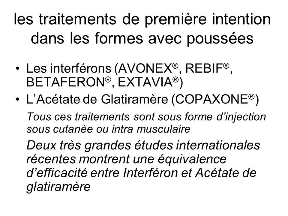 les traitements de première intention dans les formes avec poussées Les interférons (AVONEX ®, REBIF ®, BETAFERON ®, EXTAVIA ® ) LAcétate de Glatiramè