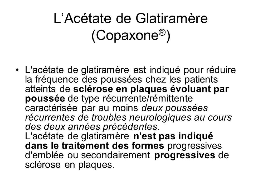 LAcétate de Glatiramère (Copaxone ® ) L'acétate de glatiramère est indiqué pour réduire la fréquence des poussées chez les patients atteints de scléro