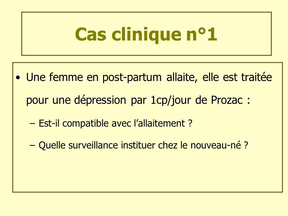 Cas clinique n°1 Une femme en post-partum allaite, elle est traitée pour une dépression par 1cp/jour de Prozac : –Est-il compatible avec lallaitement