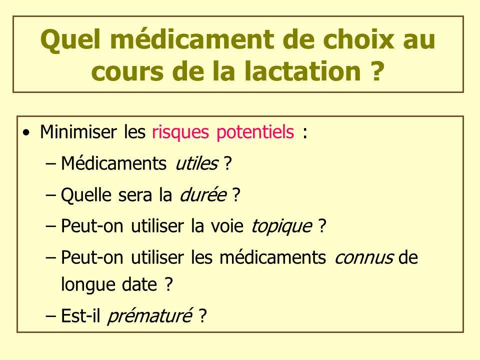 Quel médicament de choix au cours de la lactation ? Minimiser les risques potentiels : –Médicaments utiles ? –Quelle sera la durée ? –Peut-on utiliser