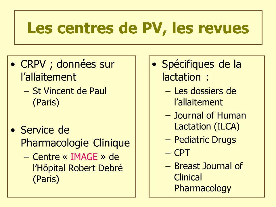 Les centres de PV, les revues CRPV ; données sur lallaitement –St Vincent de Paul (Paris) Service de Pharmacologie Clinique –Centre « IMAGE » de lHôpi