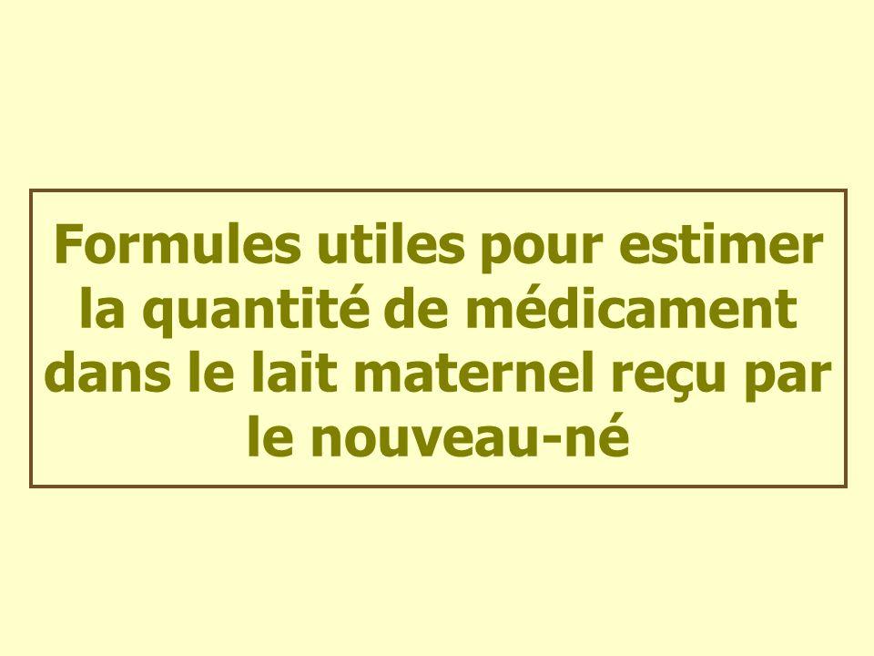 Formules utiles pour estimer la quantité de médicament dans le lait maternel reçu par le nouveau-né