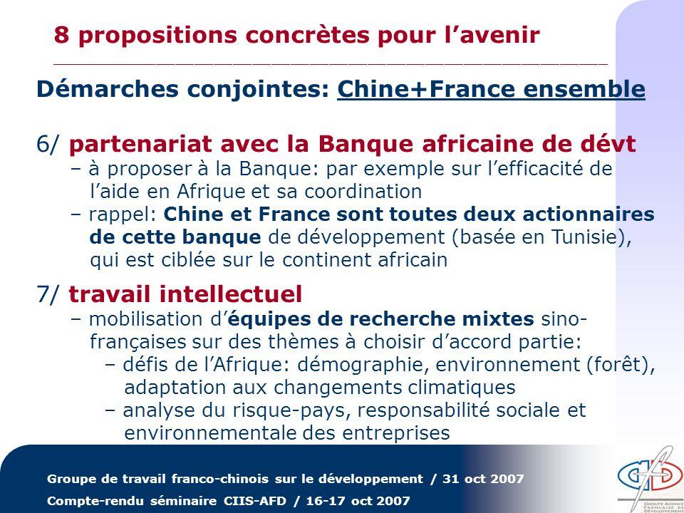 Groupe de travail franco-chinois sur le développement / 31 oct 2007 Compte-rendu séminaire CIIS-AFD / 16-17 oct 2007 Démarches conjointes: Chine+Franc