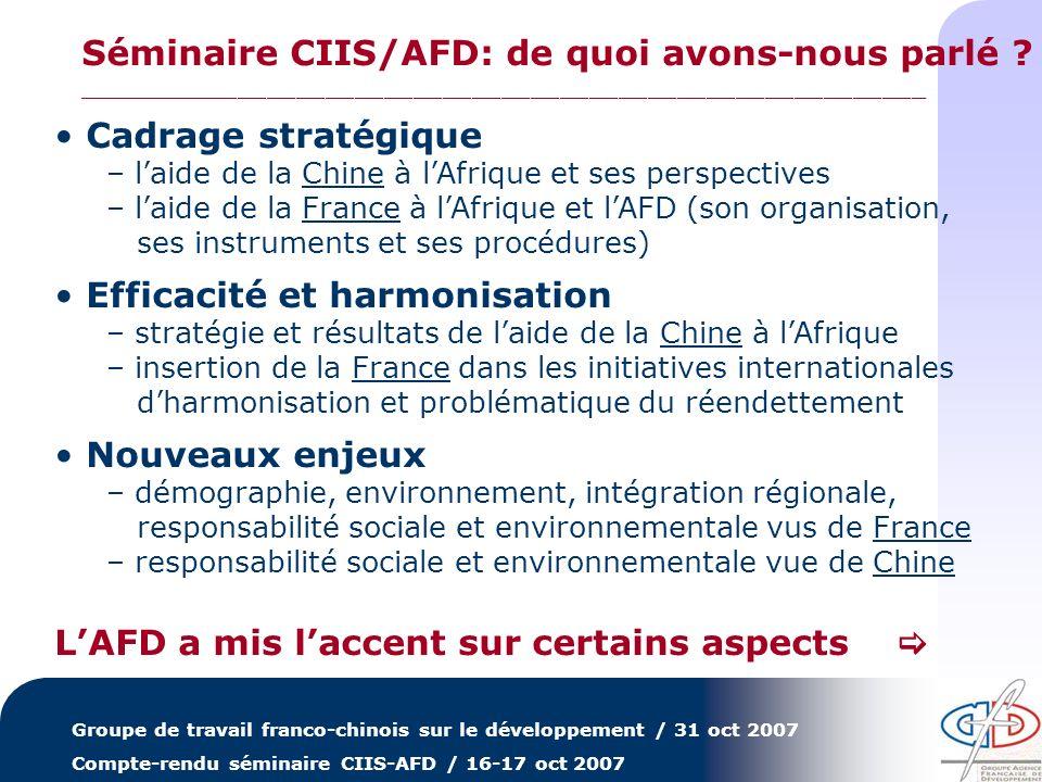 Groupe de travail franco-chinois sur le développement / 31 oct 2007 Compte-rendu séminaire CIIS-AFD / 16-17 oct 2007 Cadrage stratégique – laide de la