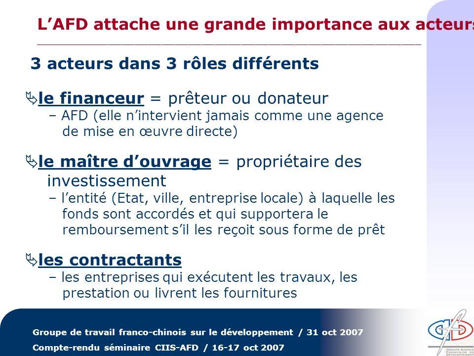 Groupe de travail franco-chinois sur le développement / 31 oct 2007 Compte-rendu séminaire CIIS-AFD / 16-17 oct 2007 3 acteurs dans 3 rôles différents