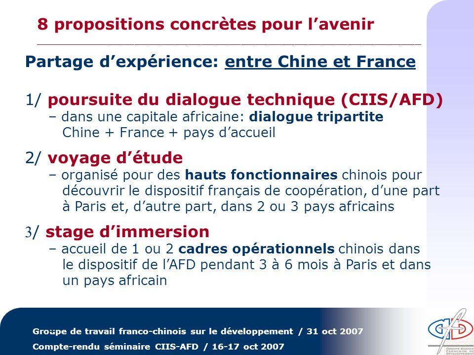 Groupe de travail franco-chinois sur le développement / 31 oct 2007 Compte-rendu séminaire CIIS-AFD / 16-17 oct 2007 Démarches conjointes: Chine+France ensemble 4/ formations de cadres africains – un ex: Centre de petite hydroélectricité de Hangzhou où lAFD a contribué à la formation de stagiaires africains sur les impact des barrages (17-21 sept 2007) – démarche sino-française quil est possible de reproduire en partenariat avec le Centre de formation de lAFD (CEFEB), en Chine, en Afrique ou en France 5/ coopération trilatérale – un ex: ce que fait lAFD avec lagence de coopération Thaï – réflexion sur les possibilités de collaboration Chine/France dans 1 pays africain : identification de secteurs communs dintervention + travail conjoint de préparation de projets + possibles cofinancements … – … … – … 8 propositions concrètes pour lavenir __________________________________________________________