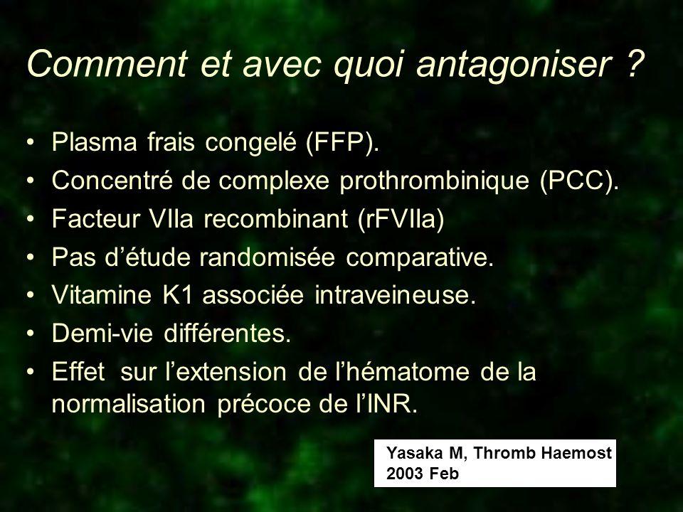 Comment et avec quoi antagoniser ? Plasma frais congelé (FFP). Concentré de complexe prothrombinique (PCC). Facteur VIIa recombinant (rFVIIa) Pas détu