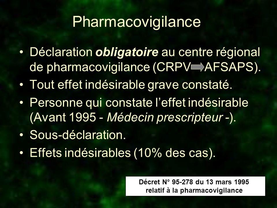 Pharmacovigilance Déclaration obligatoire au centre régional de pharmacovigilance (CRPV AFSAPS). Tout effet indésirable grave constaté. Personne qui c